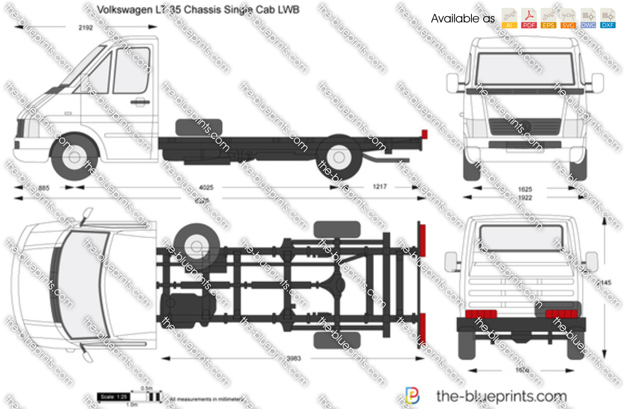 volkswagen lt 35 chassis single cab lwb vector drawing