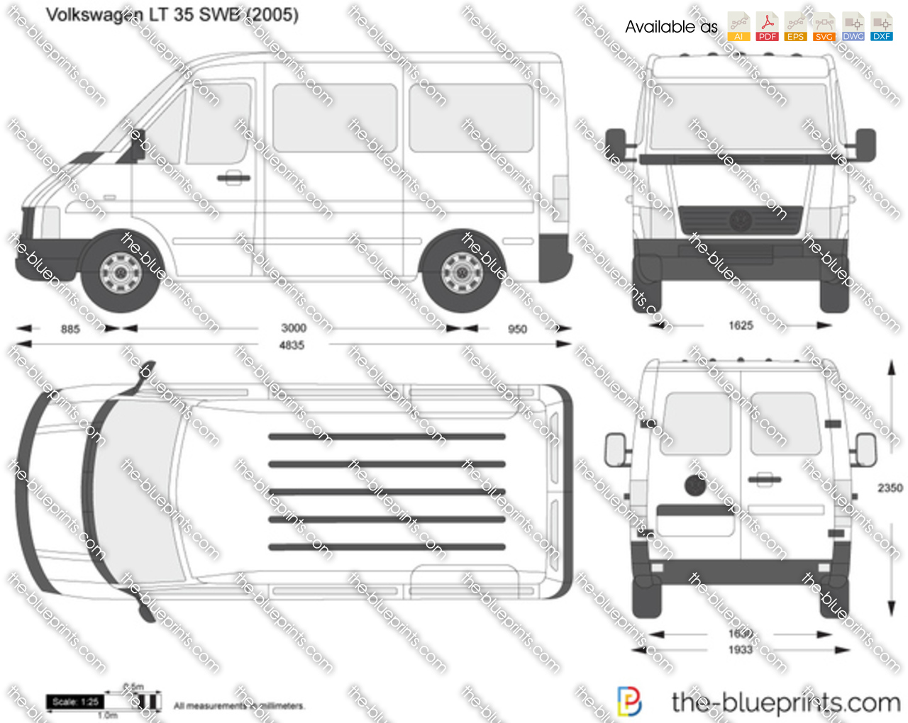 volkswagen lt 35 swb vector drawing