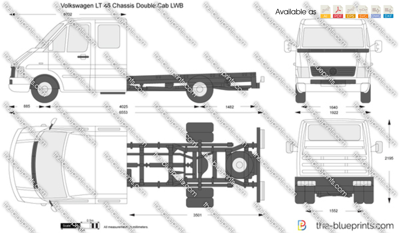 volkswagen lt 46 chassis double cab lwb vector drawing