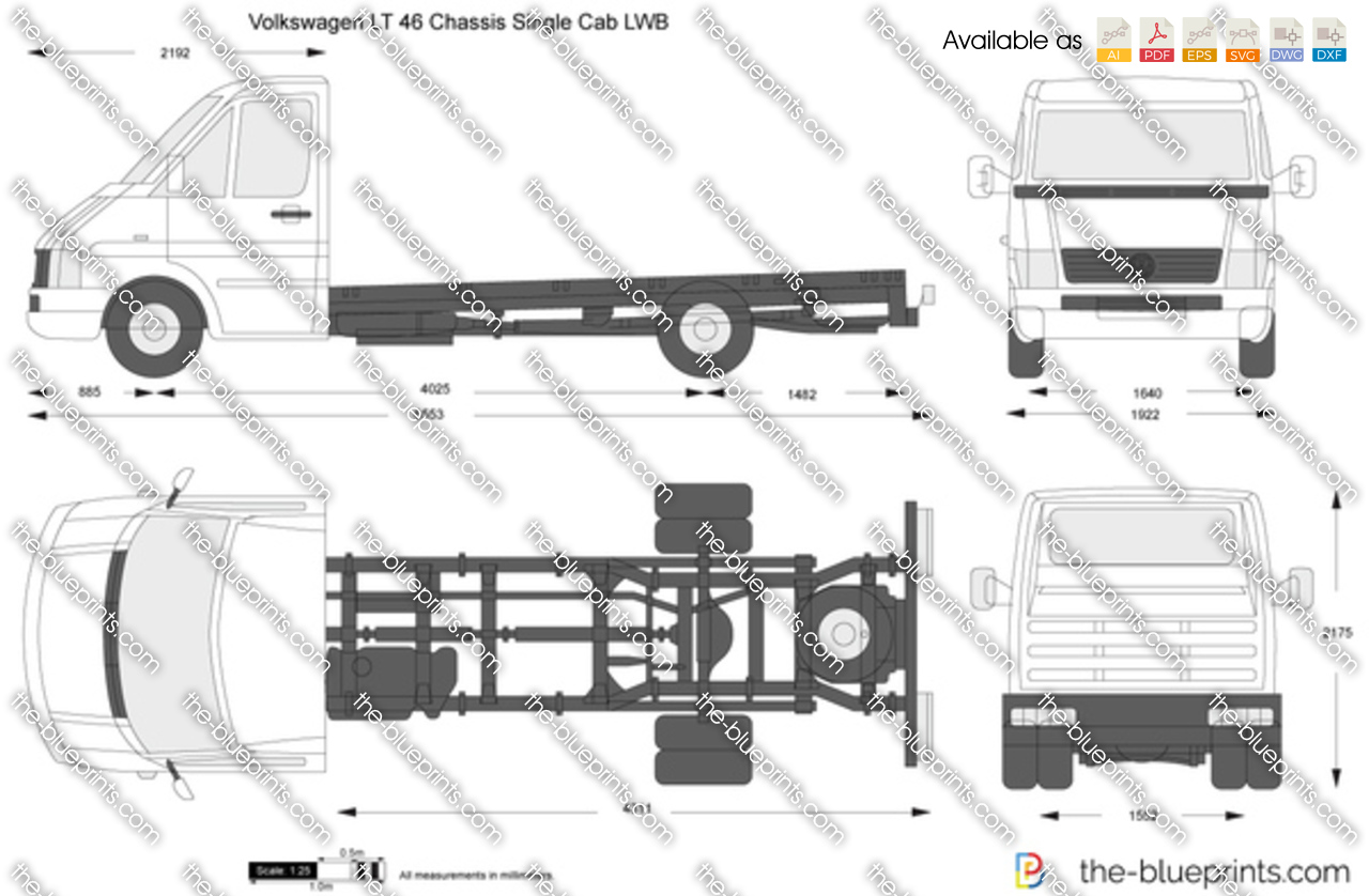 volkswagen lt 46 chassis single cab lwb vector drawing