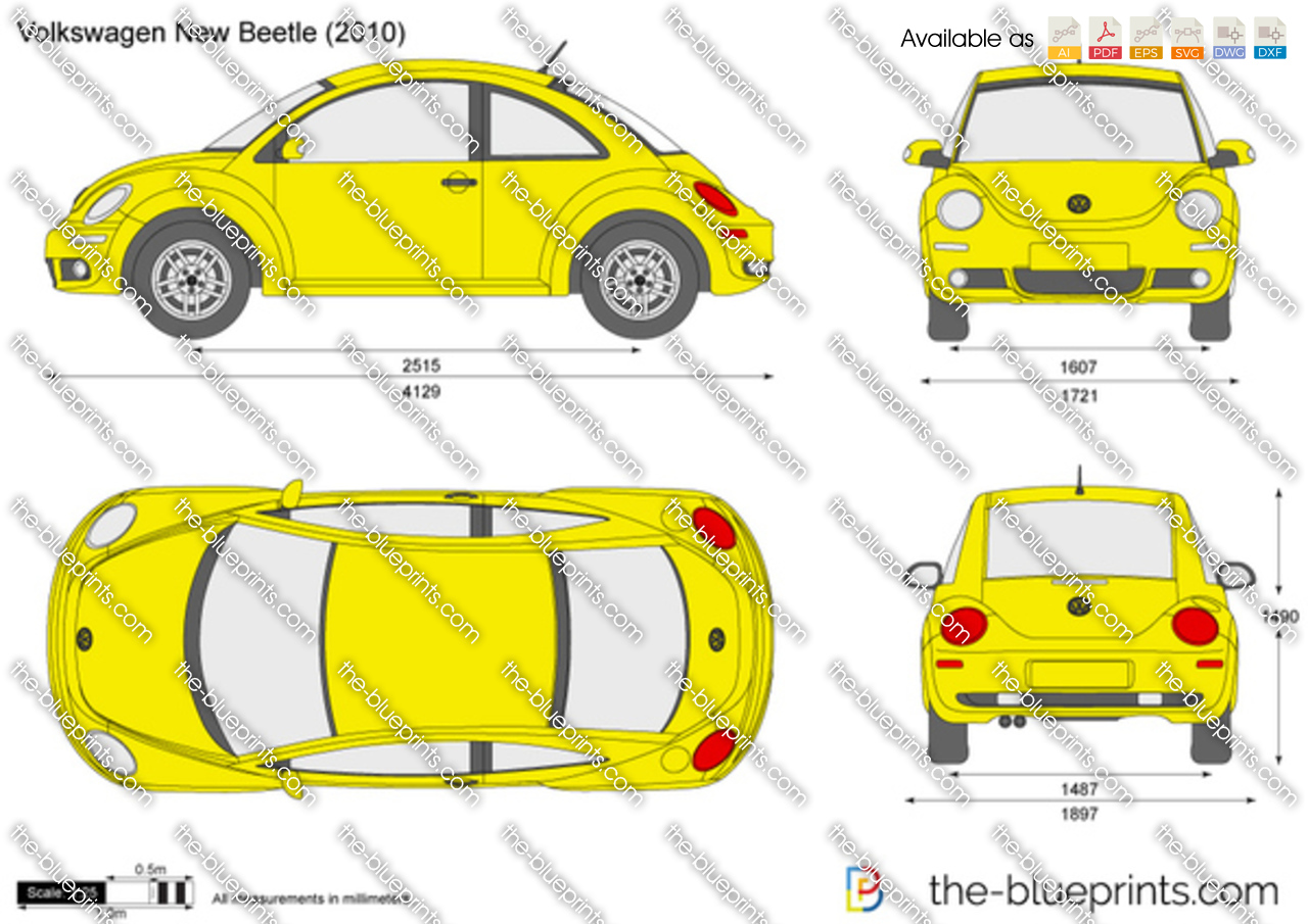 Volkswagen New Beetle Vector Drawing