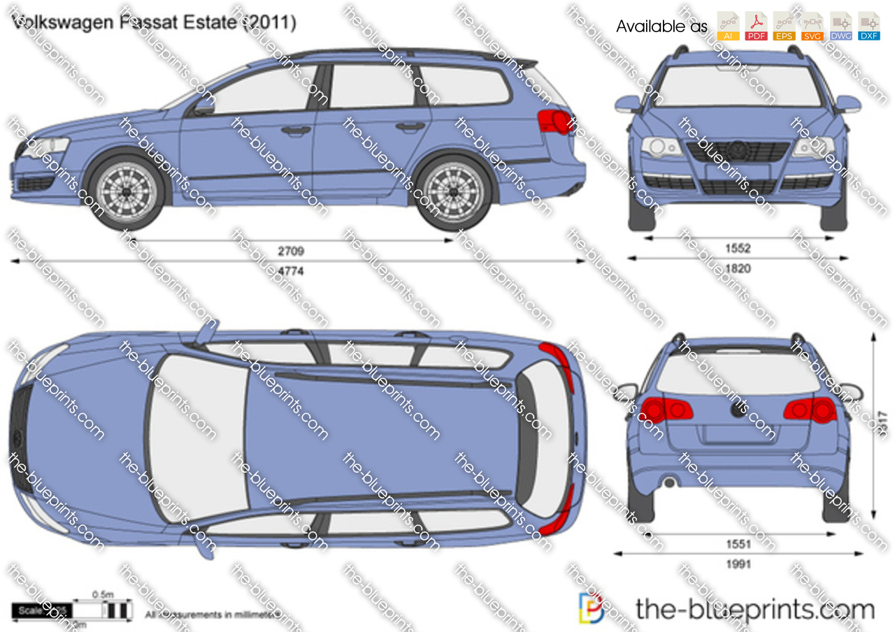 Volkswagen Passat Estate Vector Drawing