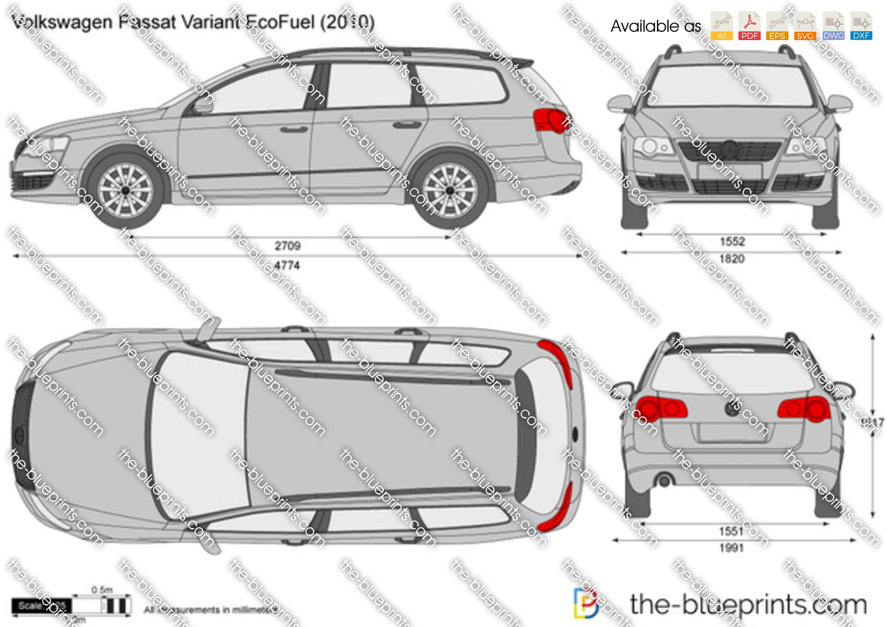 The-Blueprints.com - Vector Drawing - Volkswagen Passat Variant ...: www.the-blueprints.com/vectordrawings/show/151/volkswagen_passat...