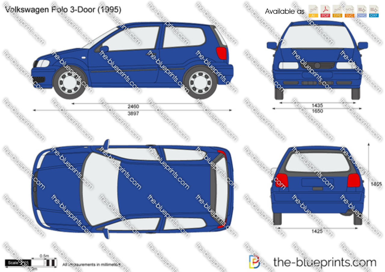 volkswagen polo 3 door vector drawing. Black Bedroom Furniture Sets. Home Design Ideas