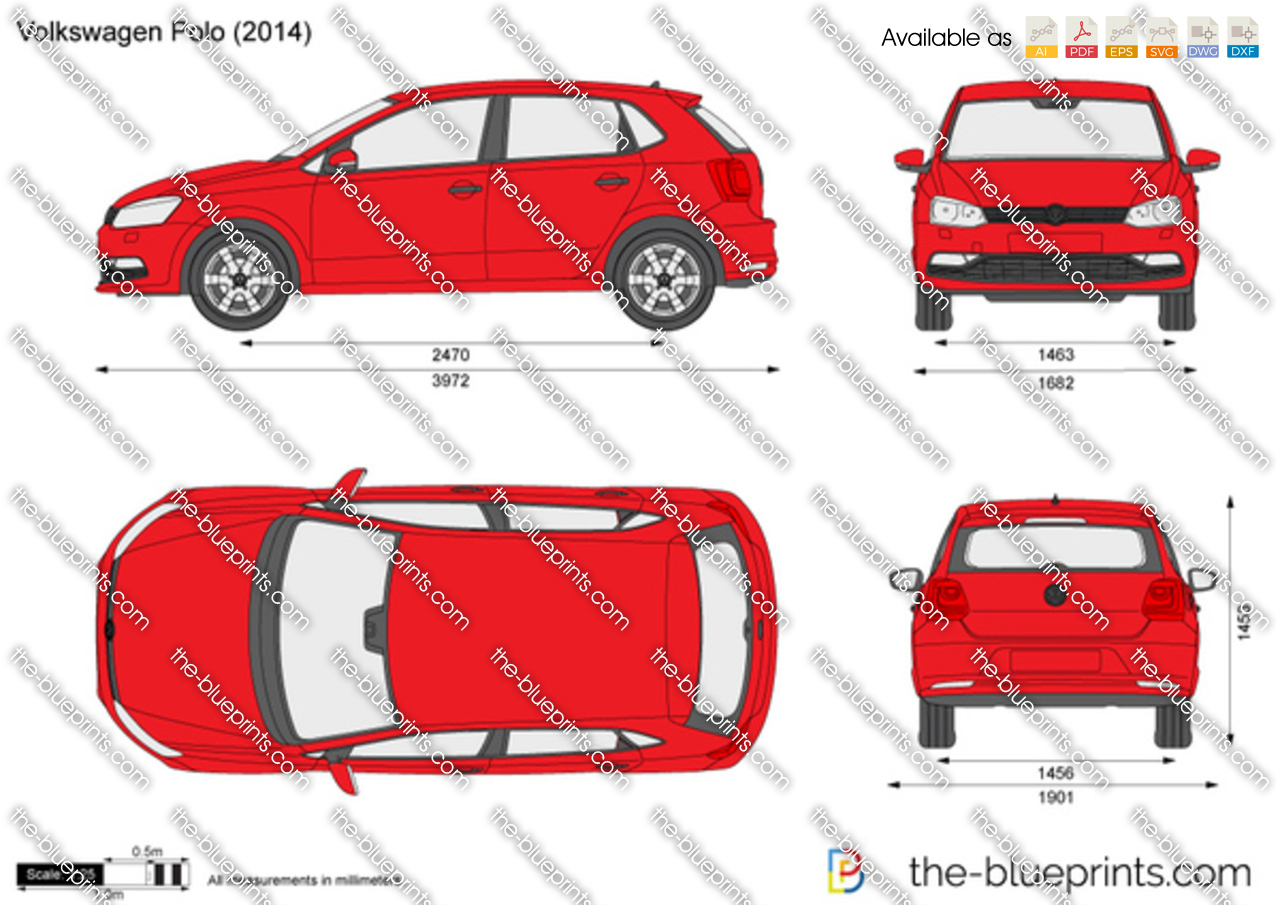 the vector drawing volkswagen polo 5 door. Black Bedroom Furniture Sets. Home Design Ideas