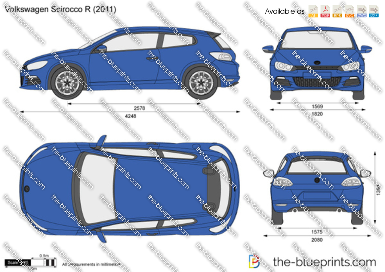 The-Blueprints.com - Vector Drawing - Volkswagen Scirocco R