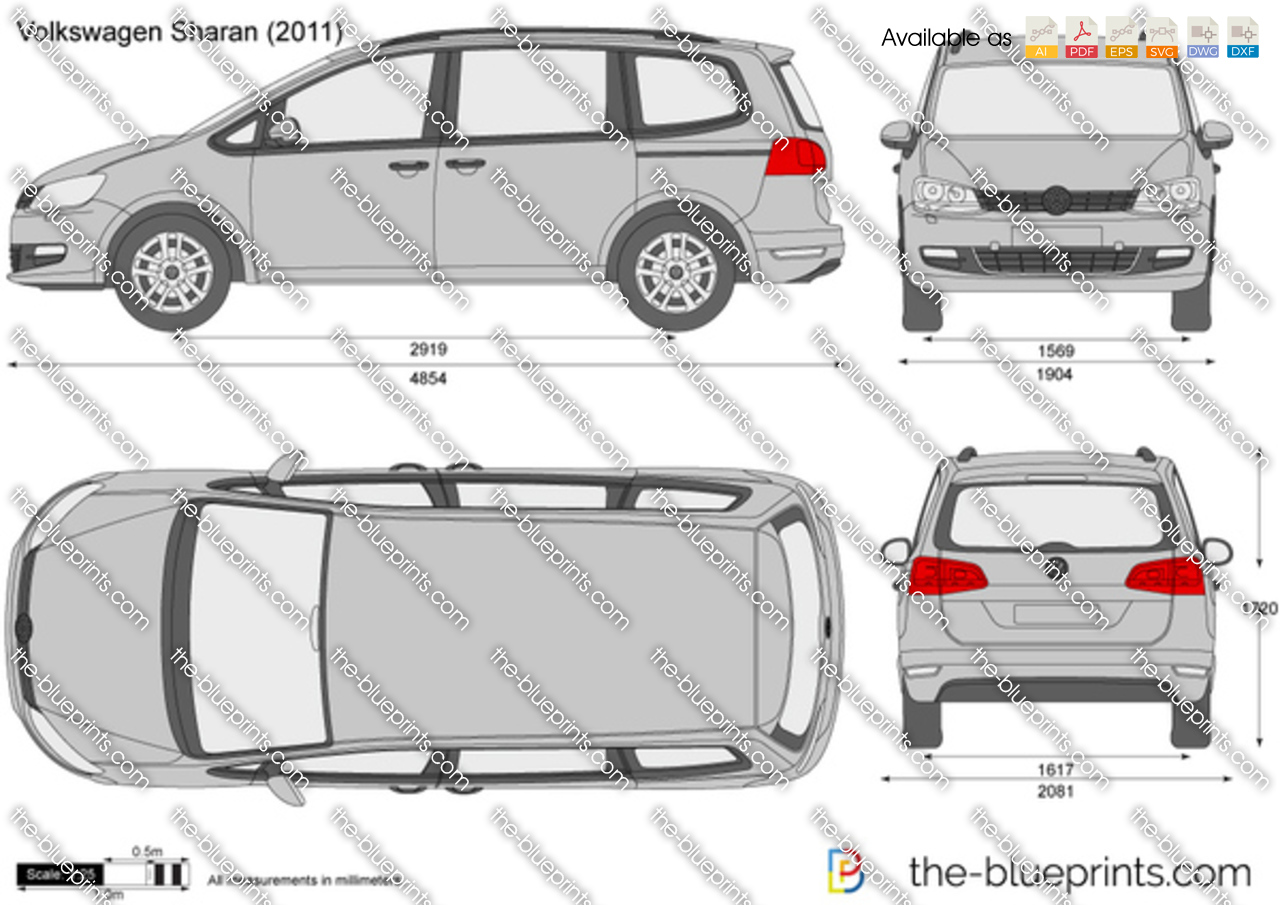 Volkswagen Sharan Vector Drawing