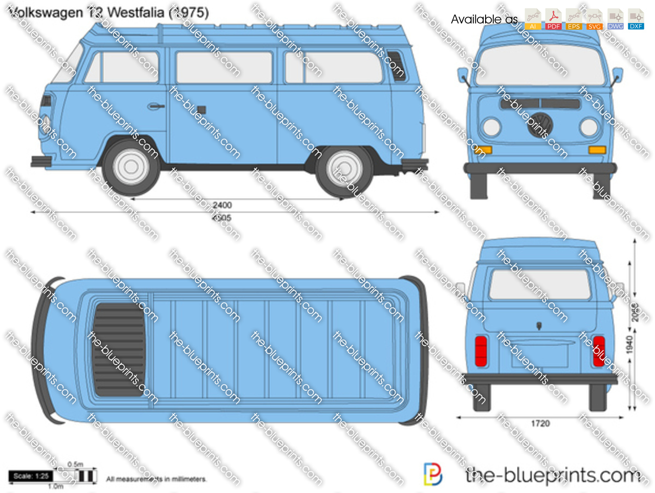 Volkswagen T2 Westfalia Vector Drawing