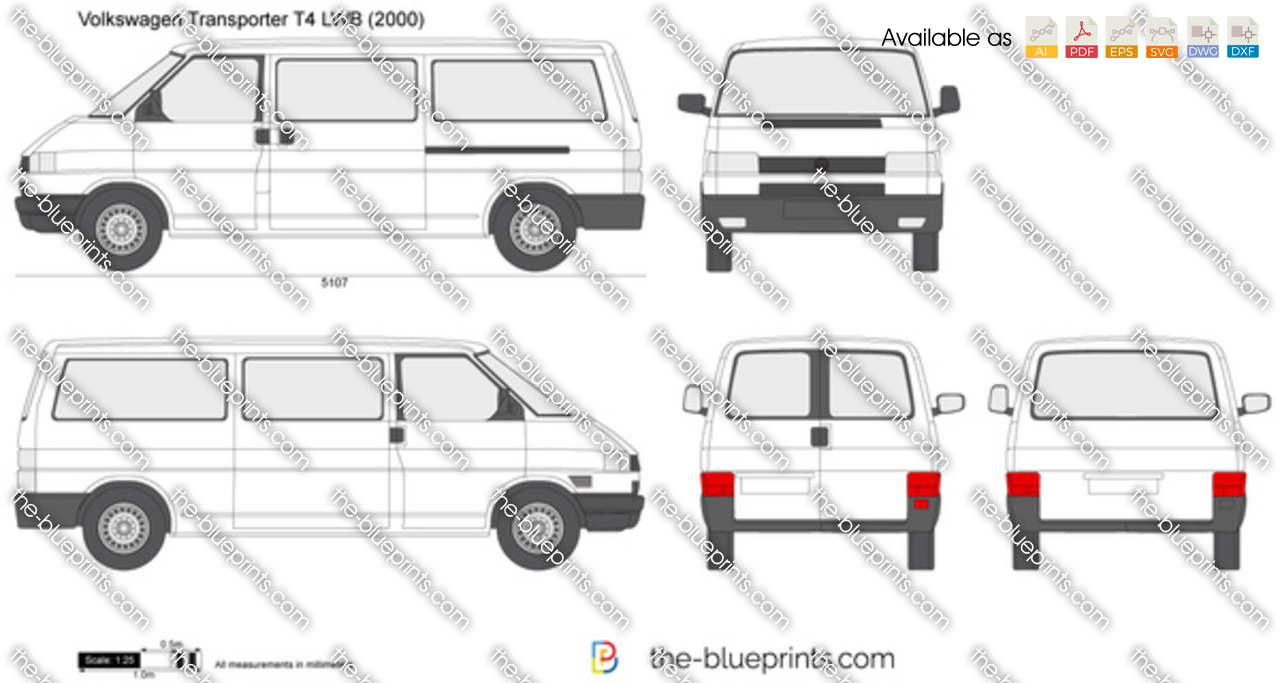 volkswagen transporter t4 lwb vector drawing. Black Bedroom Furniture Sets. Home Design Ideas