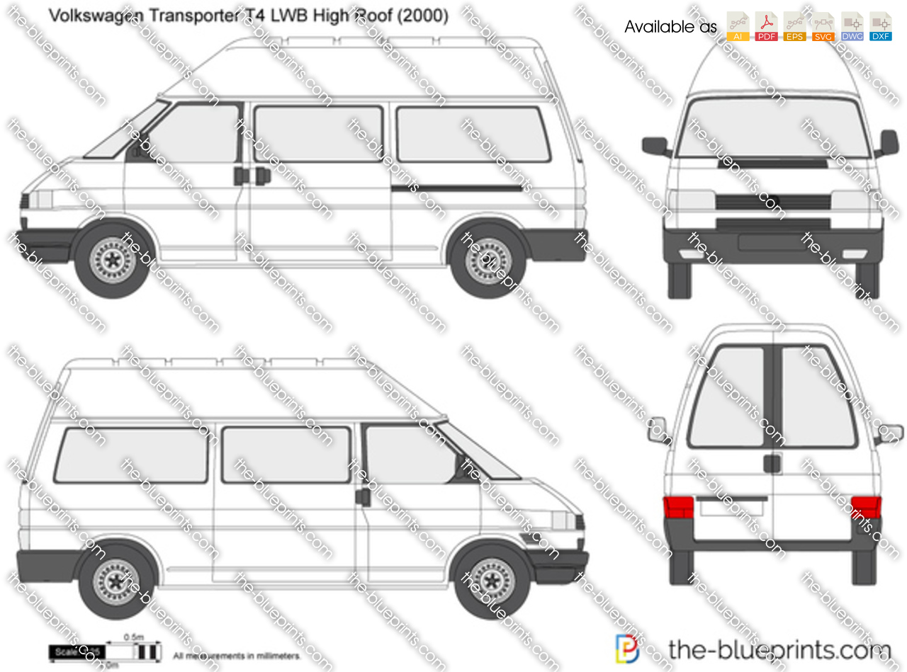 volkswagen transporter t4 lwb high roof vector drawing