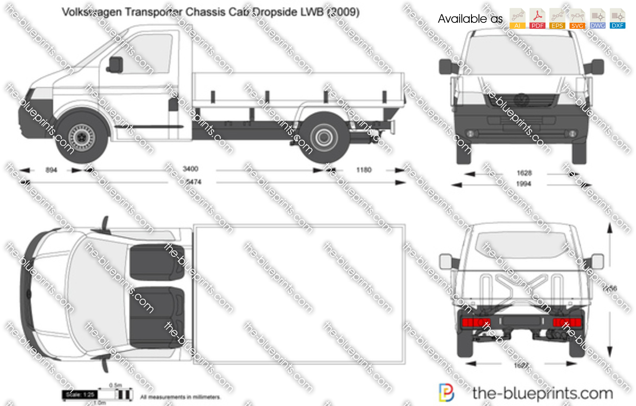 the vector drawing volkswagen transporter t5 chassis cab dropside lwb. Black Bedroom Furniture Sets. Home Design Ideas