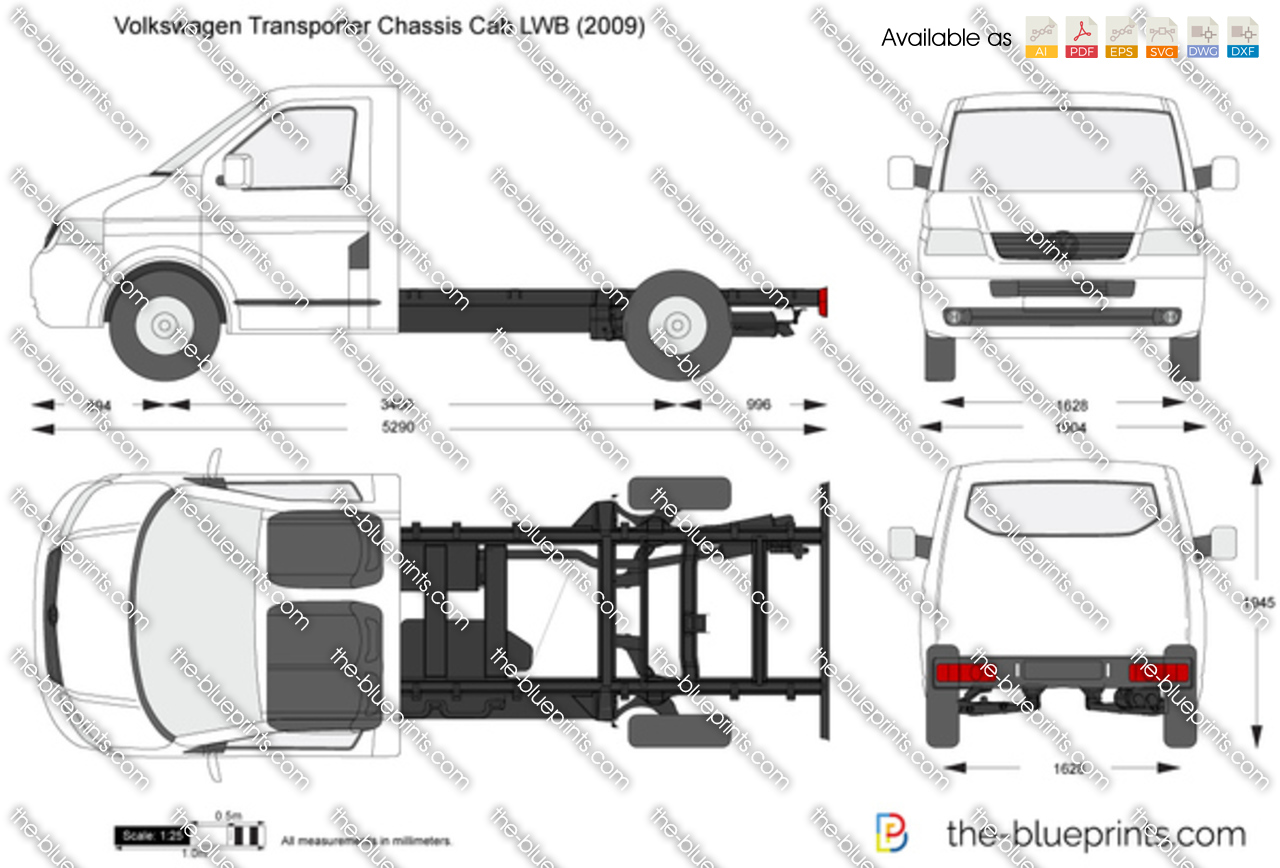 volkswagen transporter t5 chassis cab lwb vector drawing. Black Bedroom Furniture Sets. Home Design Ideas