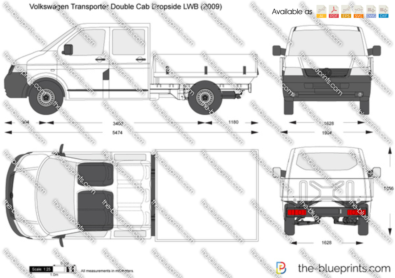 the vector drawing volkswagen transporter t5 double cab dropside lwb. Black Bedroom Furniture Sets. Home Design Ideas