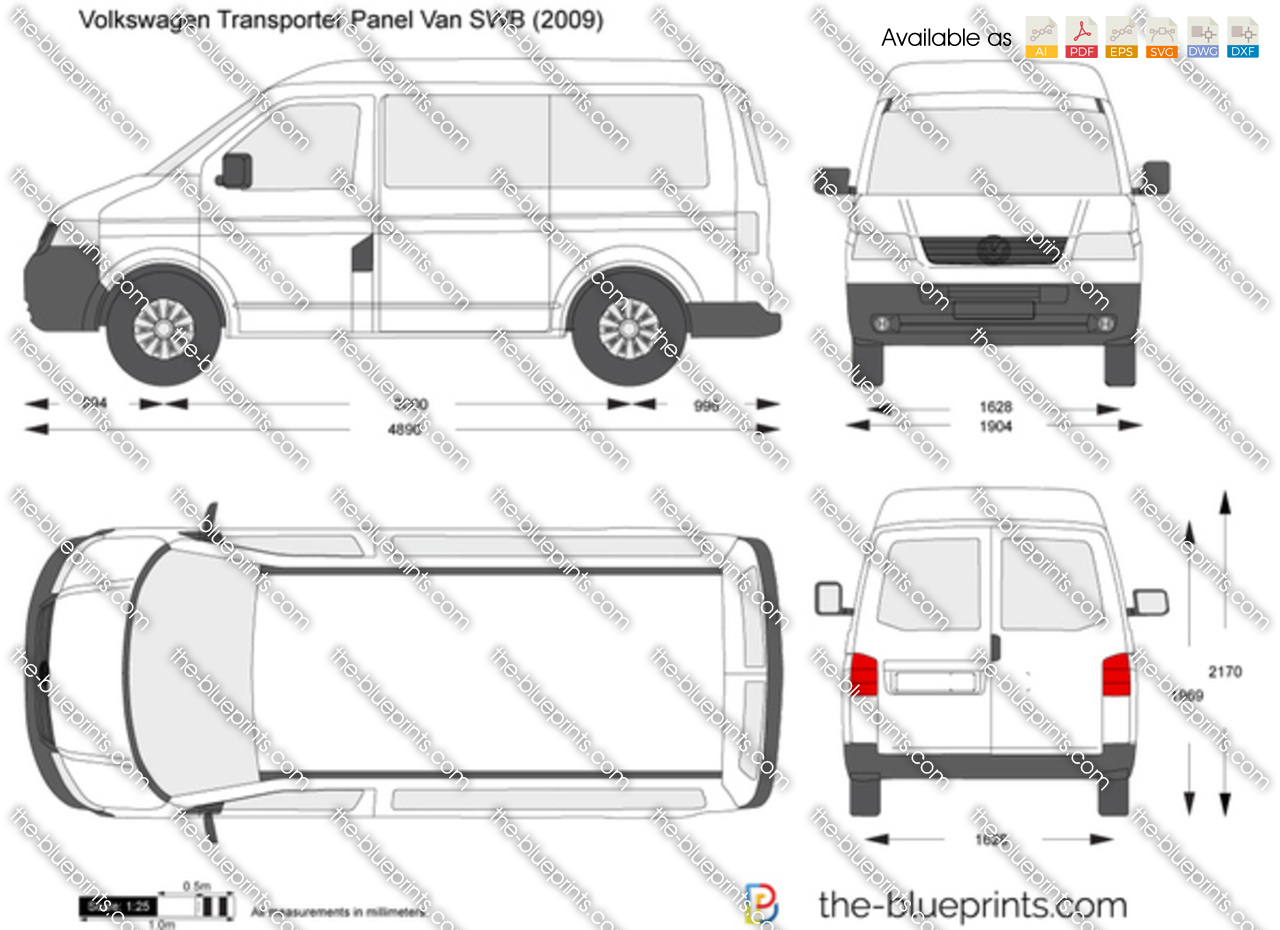 volkswagen transporter t5 panel van swb vector drawing. Black Bedroom Furniture Sets. Home Design Ideas
