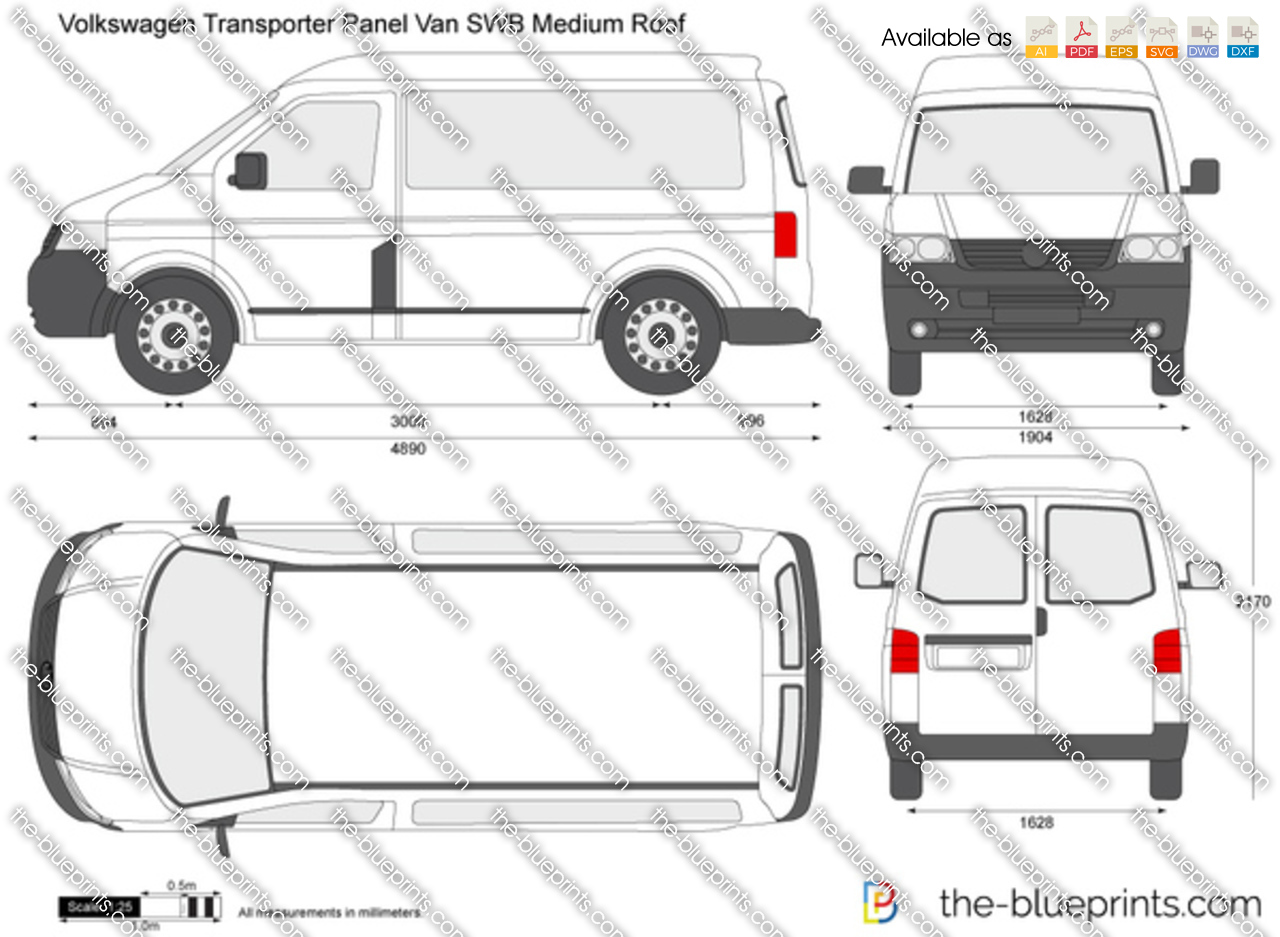 the vector drawing volkswagen transporter t5 panel van swb medium roof. Black Bedroom Furniture Sets. Home Design Ideas