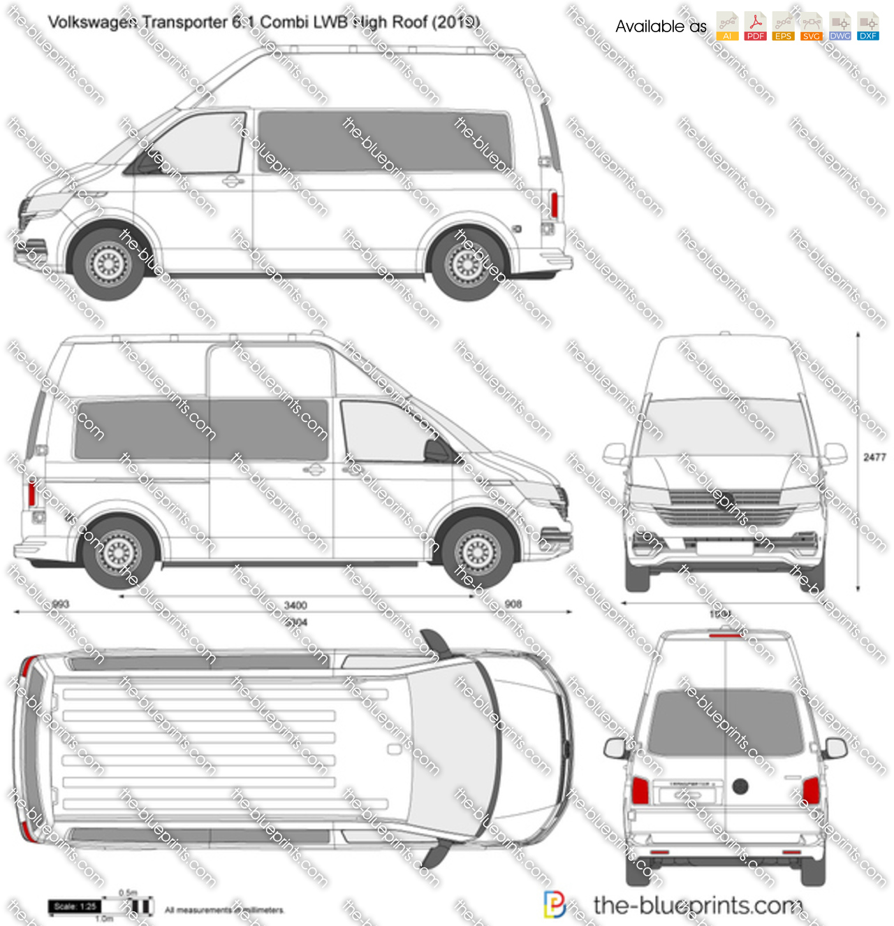 Volkswagen Transporter T6.1 Combi LWB High Roof