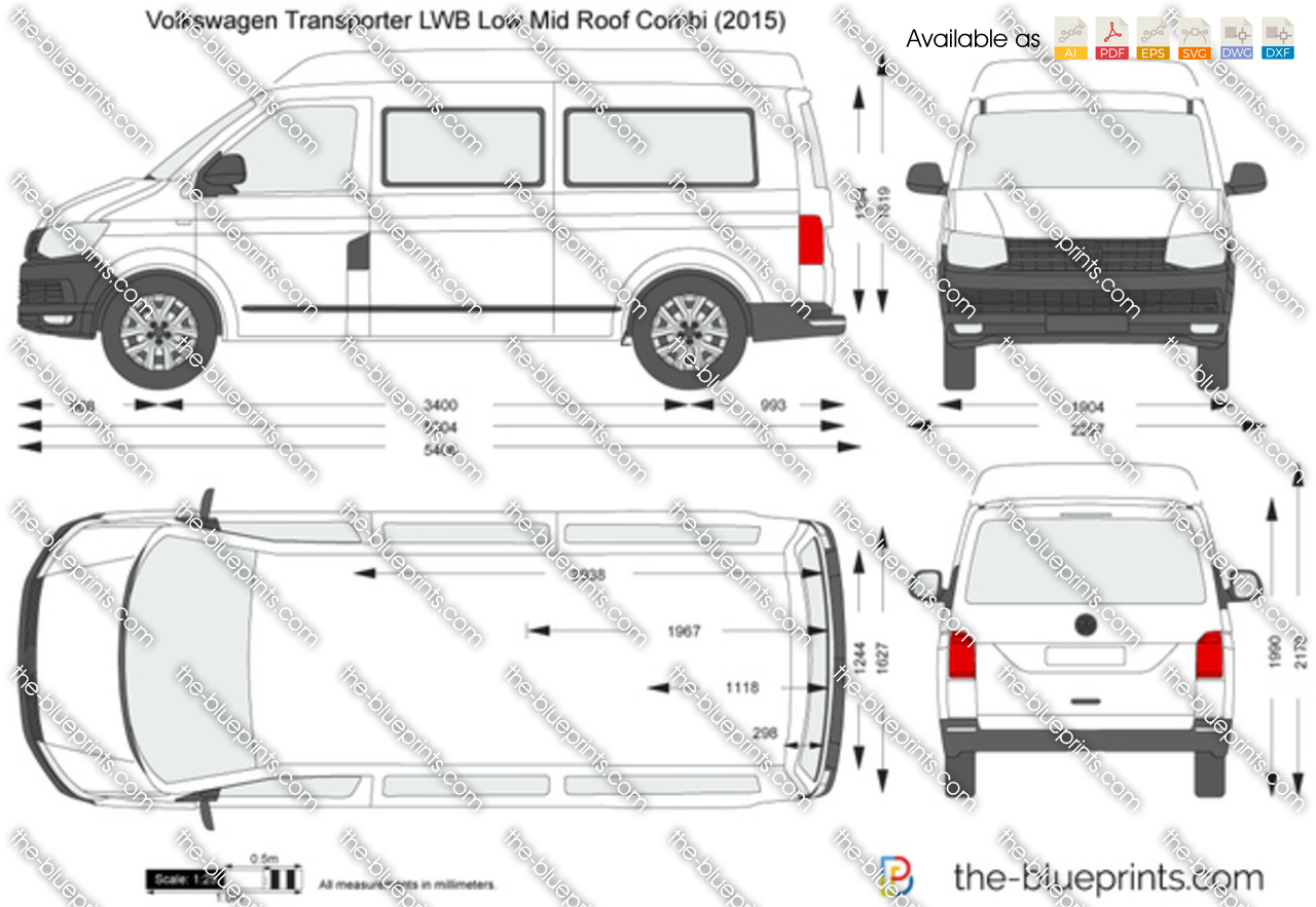 volkswagen transporter t6 lwb low mid roof combi vector drawing. Black Bedroom Furniture Sets. Home Design Ideas