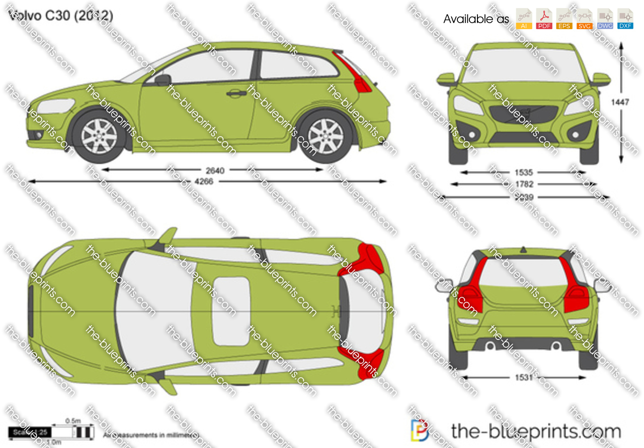 Volvo C30 vector drawing
