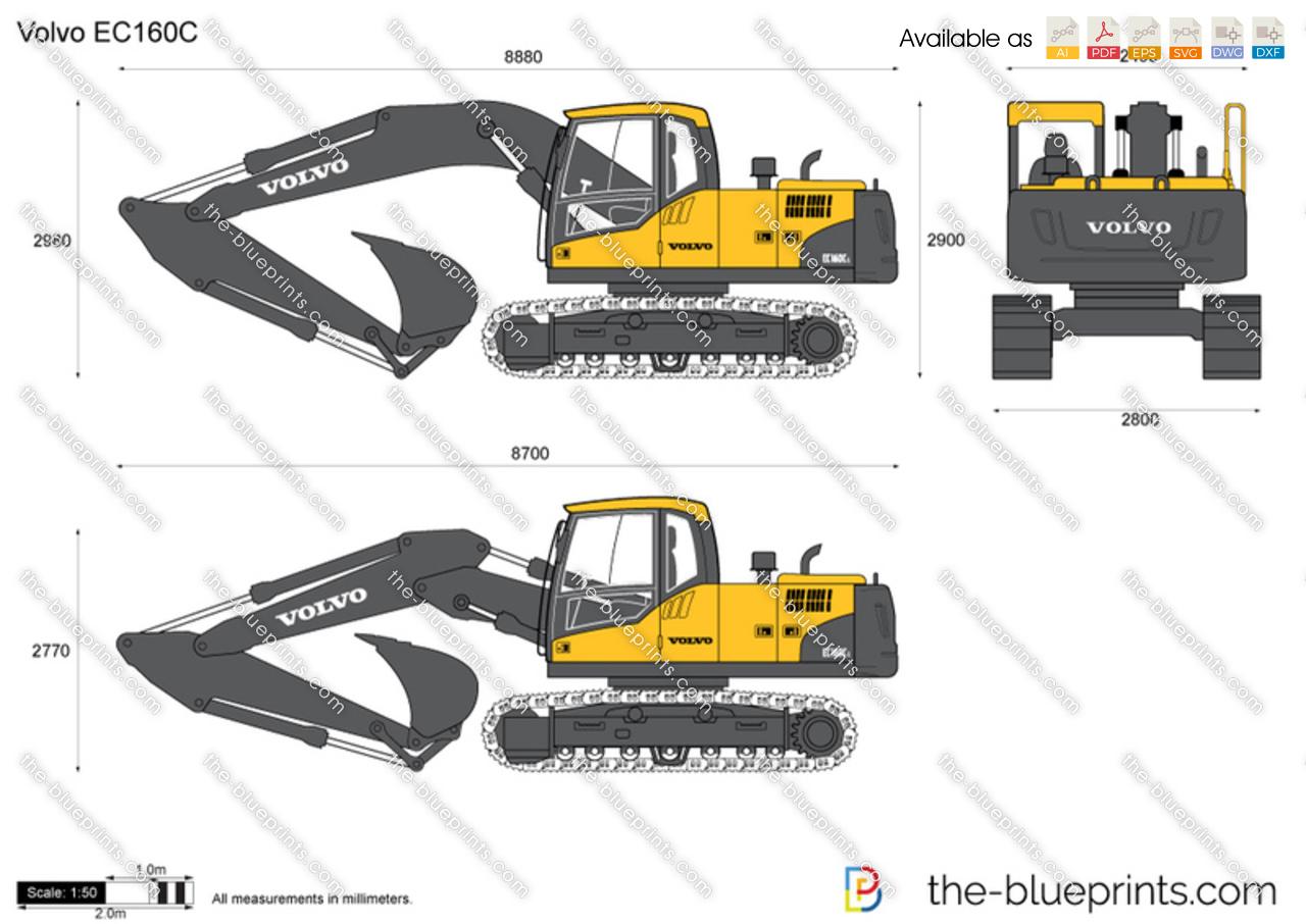 volvo ec160c crawler excavator vector drawing