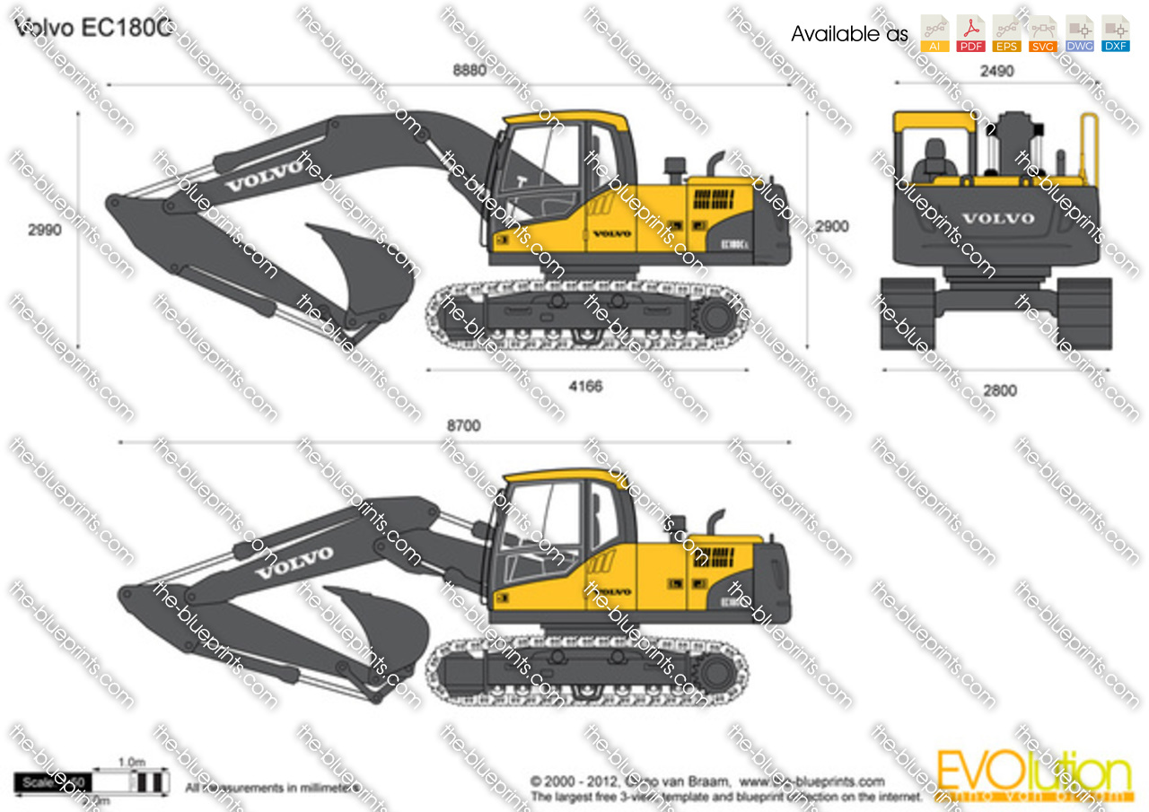 volvo ec180c crawler excavator vector drawing