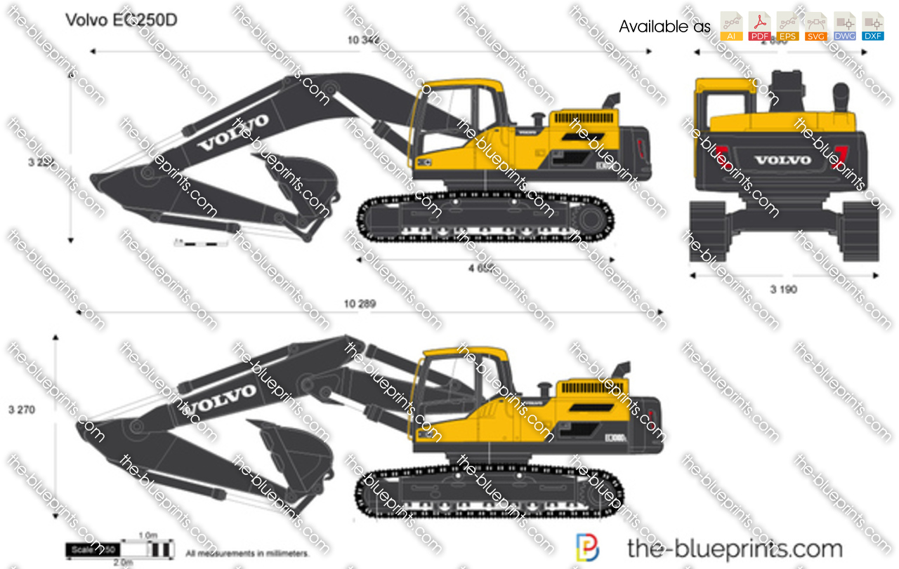 volvo ec250d crawler excavator vector drawing