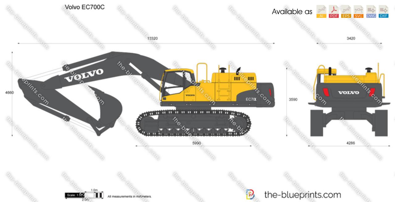 The-Blueprints.com - Vector Drawing - Volvo EC700C Crawler Excavator