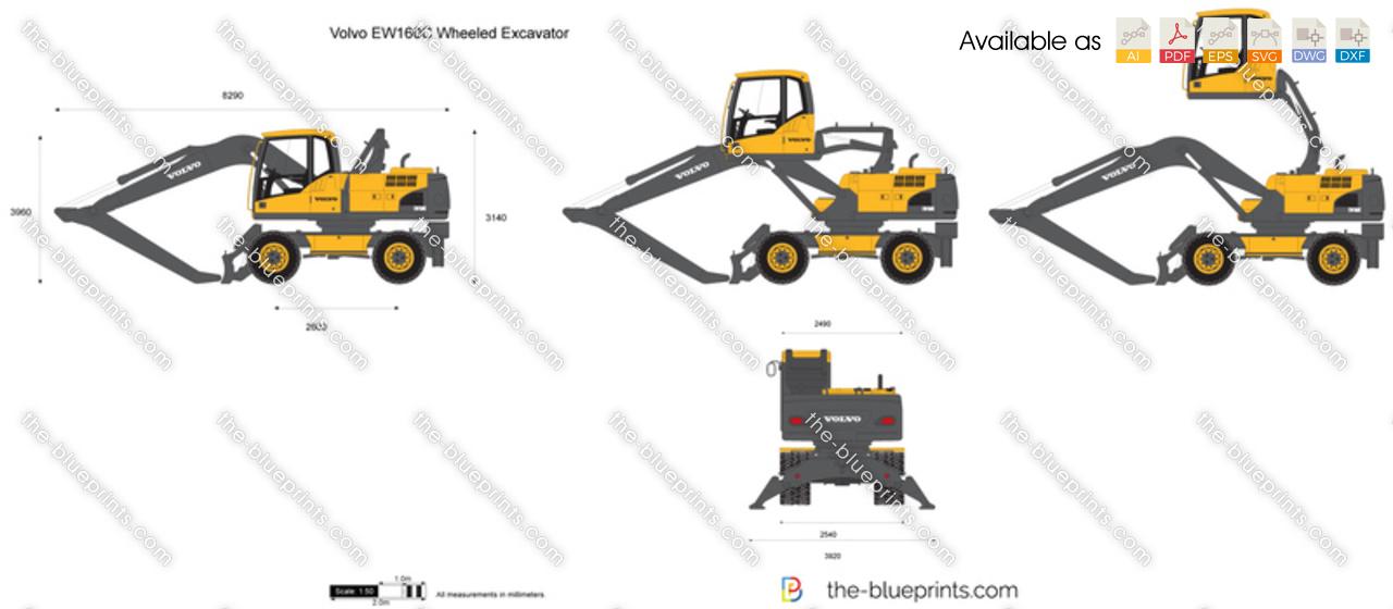 Volvo Ew160c Wheeled Excavator Vector Drawing