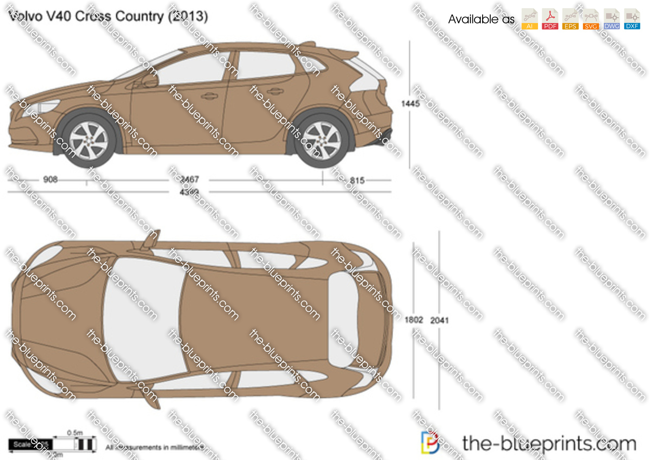 Volvo V40 Cross Country Vector Drawing