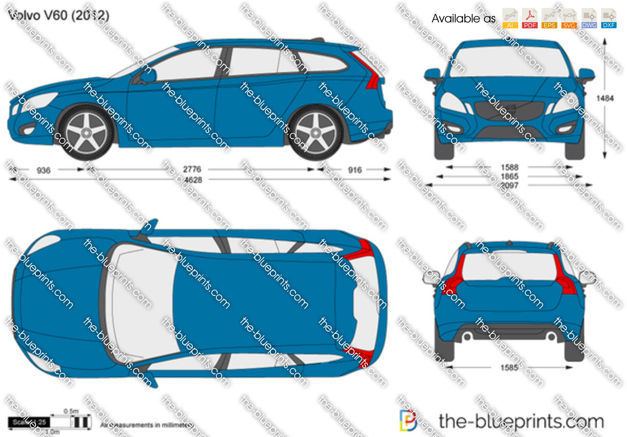 Volvo V60 vector drawing