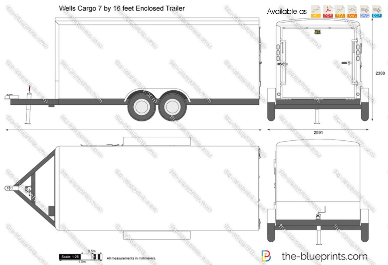 Wells Cargo 7 by 16 feet Enclosed Trailer