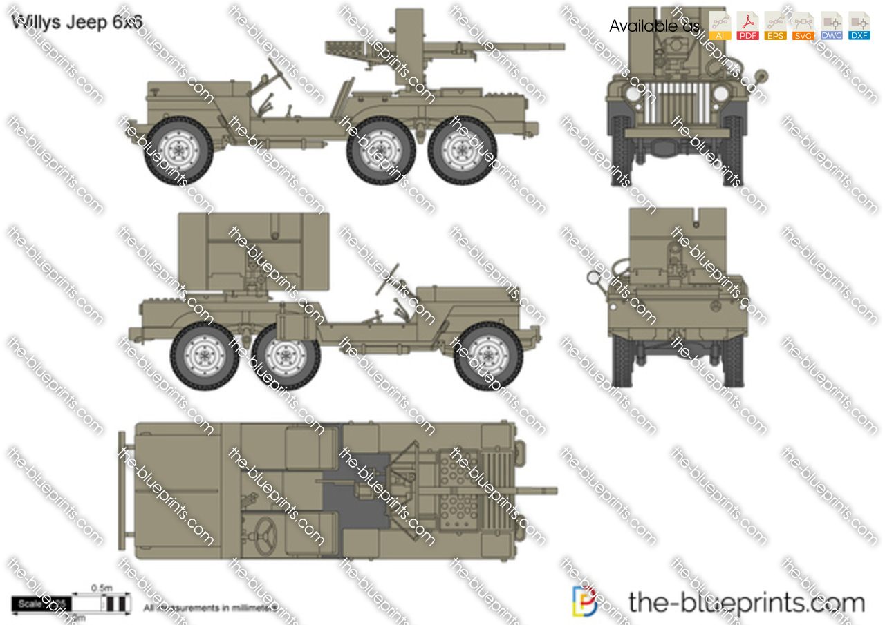 Willys Jeep 6x6 vector drawing