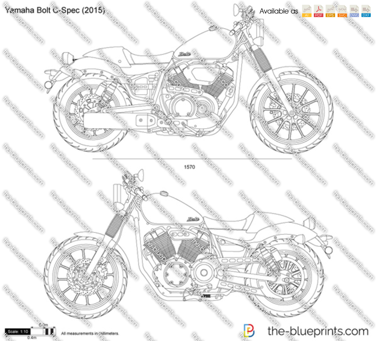 Yamaha Bolt C Spec Vector Drawing
