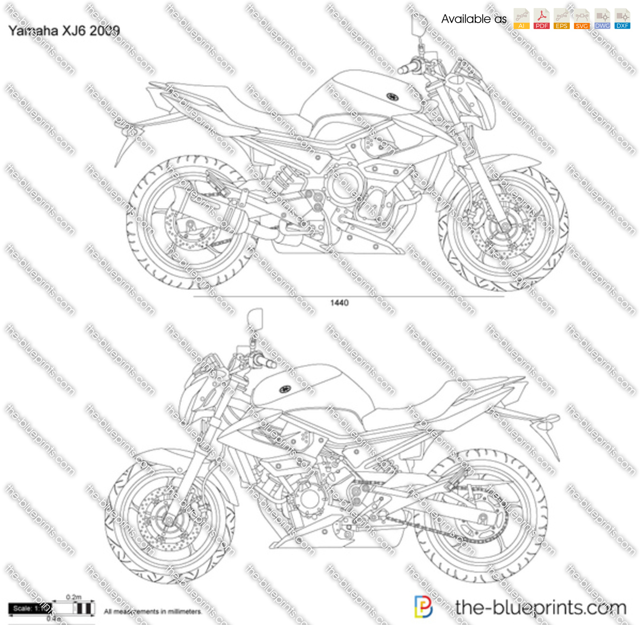 Yamaha Xj6 Vector Drawing
