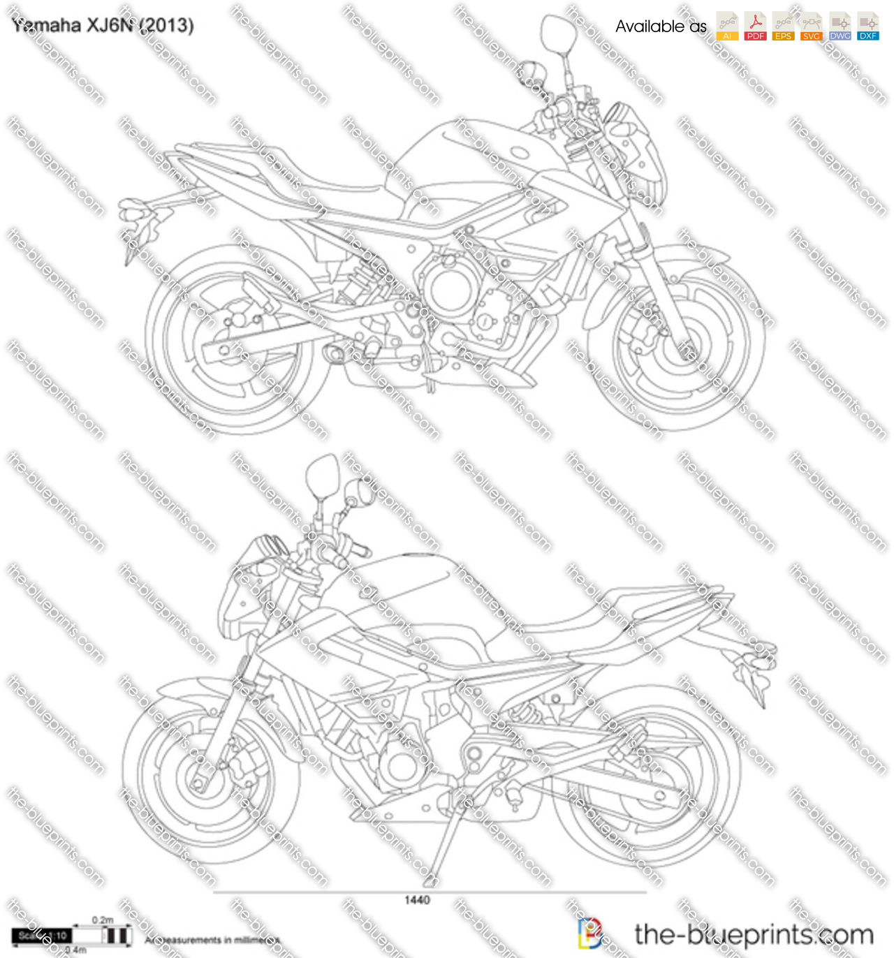 yamaha xj6n vector drawing