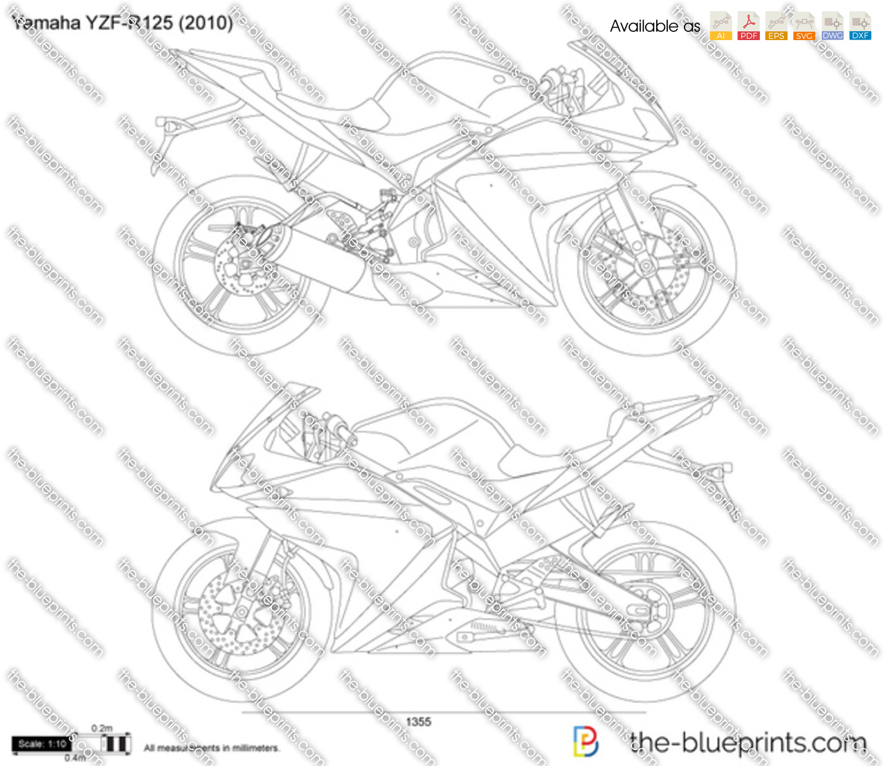 Yamaha yzf r125 vector drawing for Where to get blueprints printed