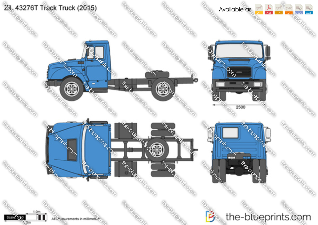 zil 43276t track truck vector drawing. Black Bedroom Furniture Sets. Home Design Ideas