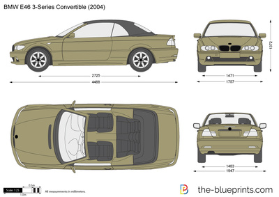 Bmw 3 Series Convertible E46 Vector Drawing