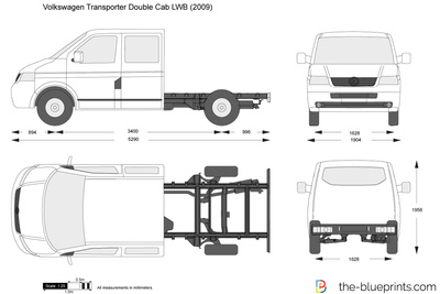 Volkswagen Transporter T5 Double Cab Lwb Vector Drawing