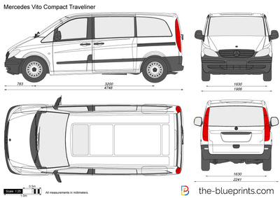 mercedes benz vito compact traveliner vector drawing. Black Bedroom Furniture Sets. Home Design Ideas
