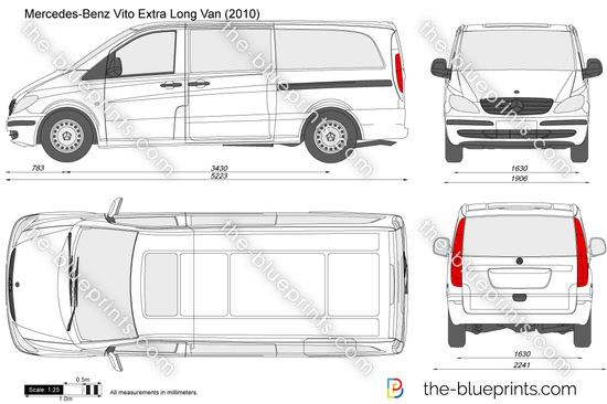 mercedes benz vito extra long van vector drawing. Black Bedroom Furniture Sets. Home Design Ideas