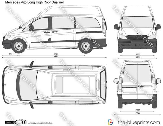 mercedes benz vito long hi roof dualiner vector drawing. Black Bedroom Furniture Sets. Home Design Ideas