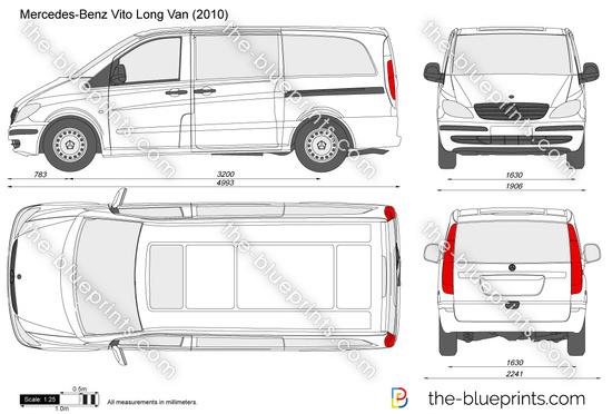 Mercedes Benz Vito Long Van Vector Drawing