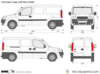 fiat doblo cargo lwb maxi vector drawing. Black Bedroom Furniture Sets. Home Design Ideas