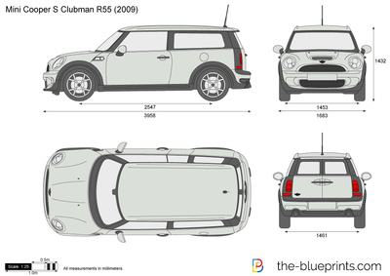 Mini Cooper S Clubman R55 Vector Drawing