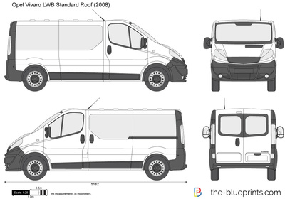 opel vivaro lwb standard roof vector drawing. Black Bedroom Furniture Sets. Home Design Ideas