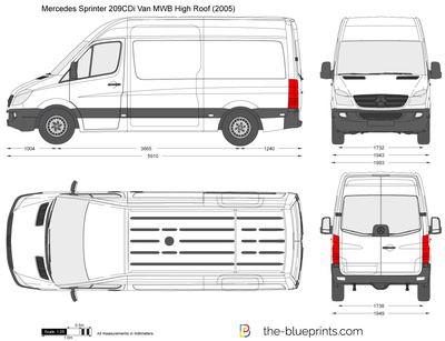 mercedes benz sprinter 209cdi van mwb high roof vector drawing. Black Bedroom Furniture Sets. Home Design Ideas
