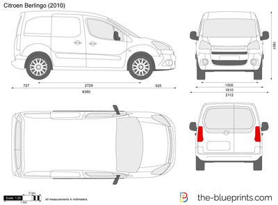 van sign writing templates - citroen berlingo vector drawing