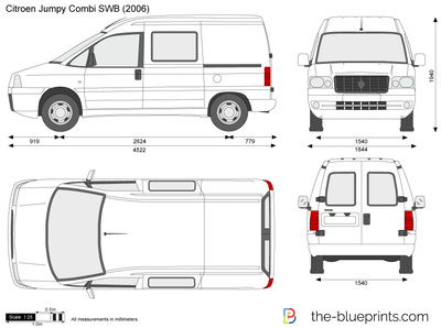citroen jumpy combi swb vector drawing. Black Bedroom Furniture Sets. Home Design Ideas