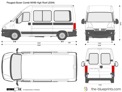 peugeot boxer combi mwb high roof vector drawing. Black Bedroom Furniture Sets. Home Design Ideas
