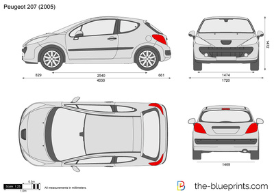 blueprints cars peugeot peugeot 207. Black Bedroom Furniture Sets. Home Design Ideas